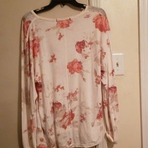 Free People  Floral Long Sleeve Cotton blend Top